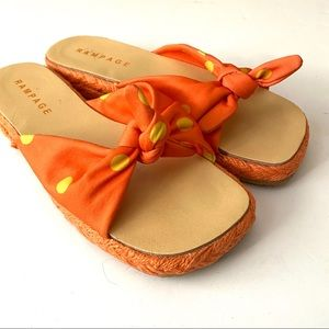 VTG RAMPAGE orange + yellow polka dot sandals 8.5